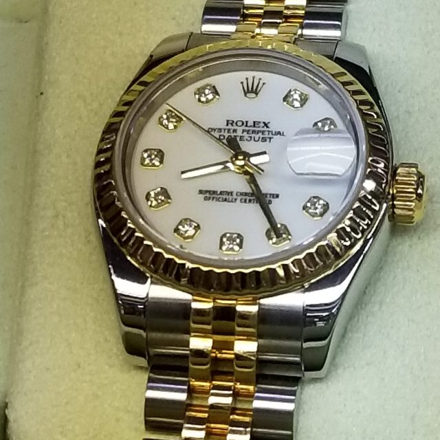 Ladies Rolex Watch 179173 Factory Diamond Dial with 18k & Stainless Steel Hidden Clasp $5,985